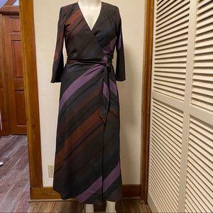 New eShakti Chevron Stripe Wrap Dress